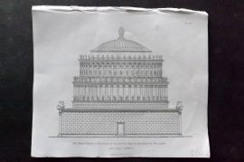 Henry Moses 1840's Antique Print. Mausoleum of Hadrian in its perfect state